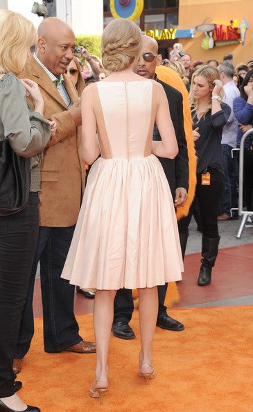 Taylor Swift Pink Dress Pleated Pastel Celebrity Evening Dress Dr. Seuss The Lorax Premiere