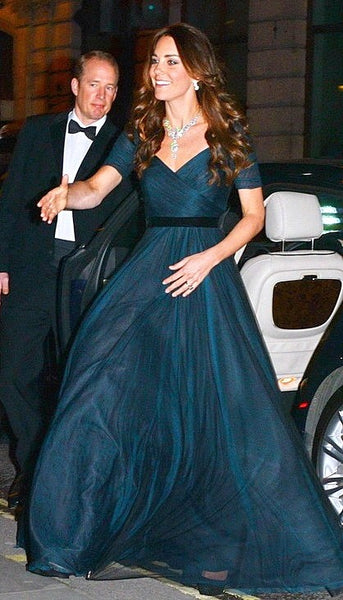 Kate Middleton Navy Blue Dress A Line Ruched Classic Prom Celebrity Dress 100 Women Hedge Funds