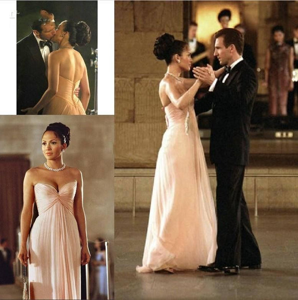 Jennifer Lopez Pink Dress Strapless Open Back Prom Celebrity Dress Maid in Manhattan