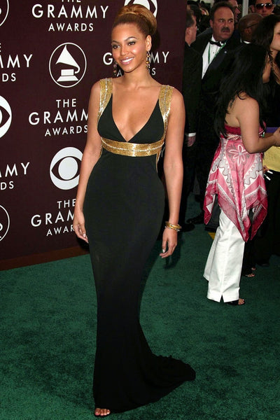 Beyonce Knowles Open Back Dress Black Sparkly Gold Red Carpet Formal Gown Grammy Awards