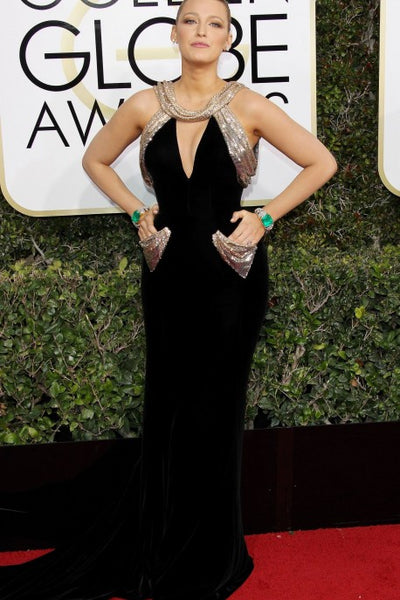 Blake Lively Black Velvet Dress Sheath Mermaid V Neck Pockets Sparkly Prom Red Carpet Golden Globes