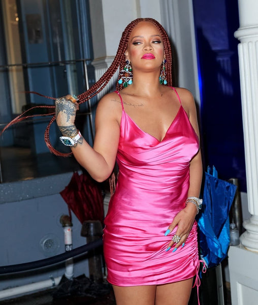Rihanna Short Pink Dress Satin Spaghetti Strap Casual Prom Cocktail Dresses At Fenty Event Party Dress
