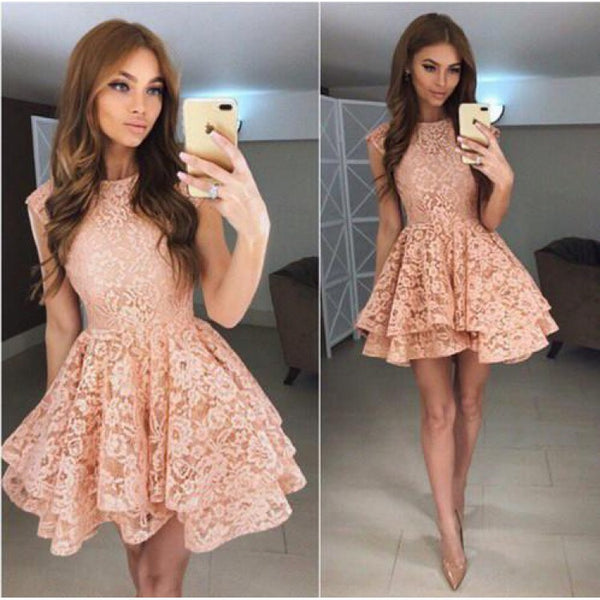 Pink Lace Strapless Short Sleeve Homecoming Dresses with Applique