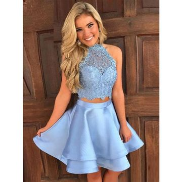 Blue Halter Sleeveless Homecoming Dresses,Two Piece Homecoming Dresses