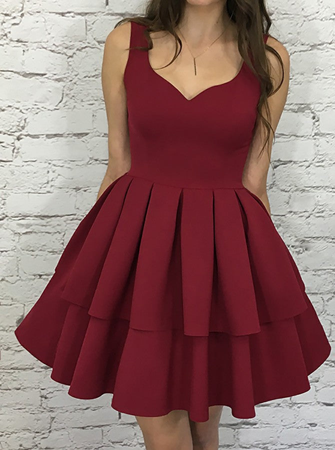 Red Straps V-neck Homecoming Dresses,Burgundy Homecoming Dresses