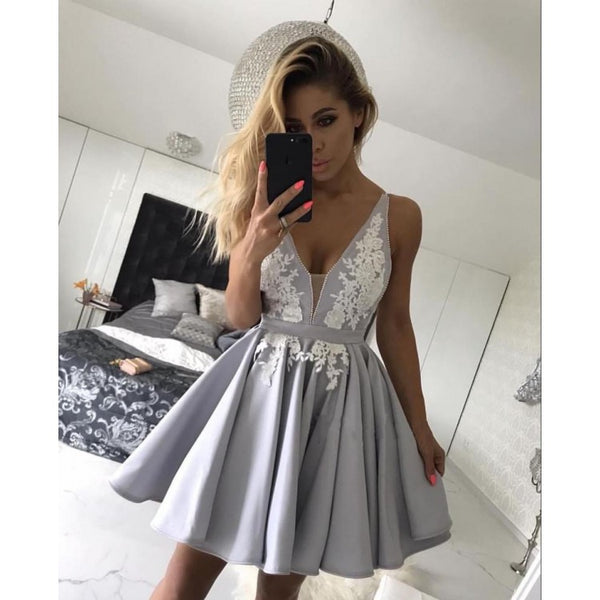 Grey V-neck Applique Homecoming Dresses,Stain Homecoming Dresses