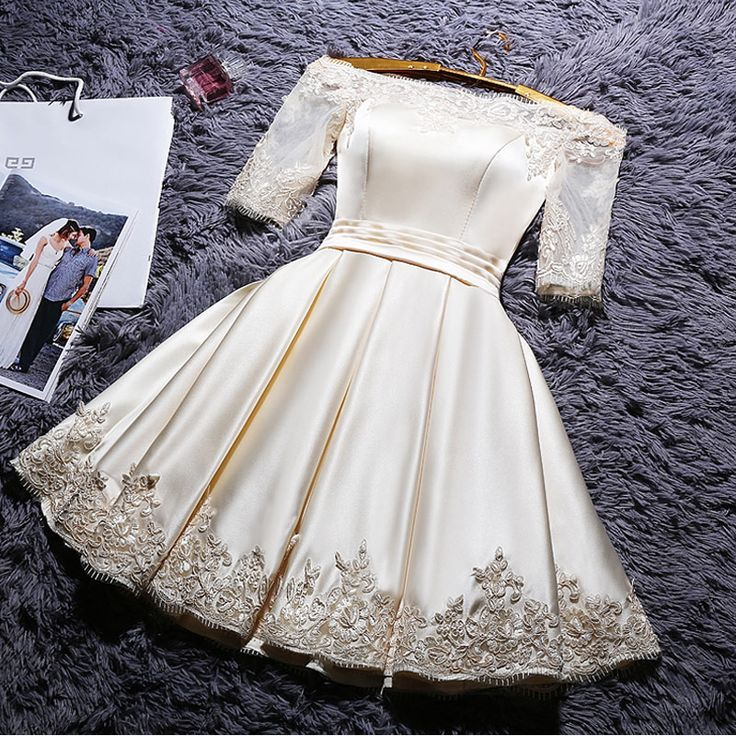 White Lace Off Shoulder Stain Homecoming Dresses with Applique