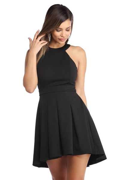 Black Halter Short Prom Party Homecoming Dresses