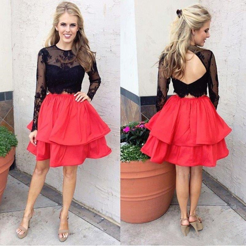 Black Lace Long Sleeve Backless Two Piece Homecoming Dresses with Applique