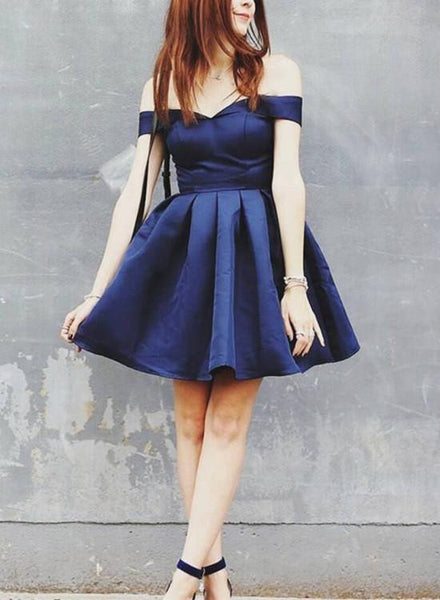 Blue Off Shoulder Short Sleeve Stain Homecoming Dresses