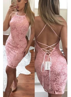 Pink Straps Backless Bodycon Homecoming Dresses