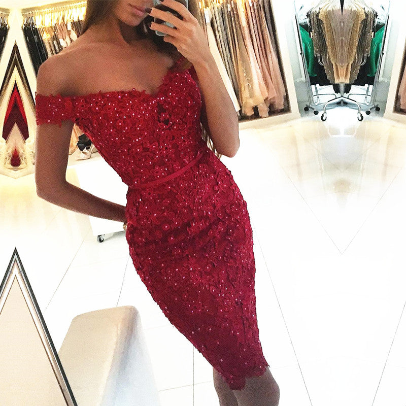 Sheath Red Lace Off Shoulder Short Sleeve Homecoming Dresses with Applique