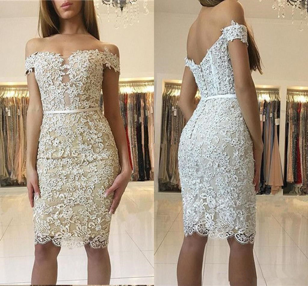 White Lace Applique Off Shoulder Homecoming Dresses,Short Sleeve Bodycon Homecoming Dresses