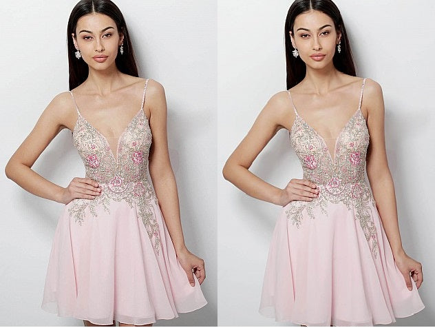 Pink Straps Deep V-neck Homecoming Dress,Embellished Bodice Chiffon short Homecoming Dress