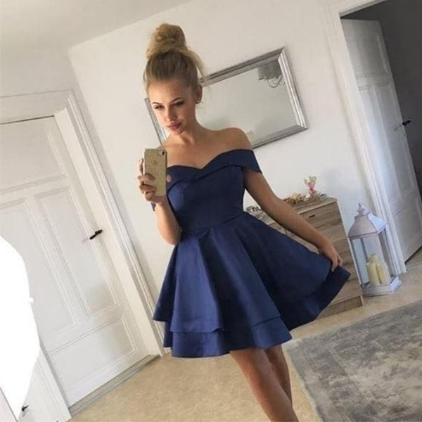 Blue Off Shoulder Short Sleeve Homecoming Dresses