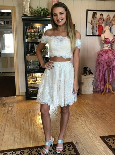 White Lace Two Piece Homecoming Dress,Off Shoulder Short Sleeve Homecoming Dress