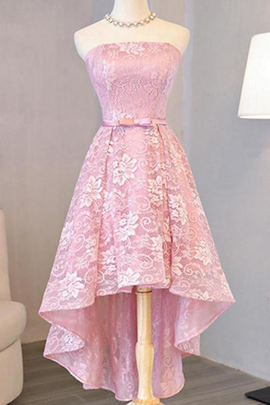 Pink Full Lace Strapless Homecoming Dresses With Bowknot Applique