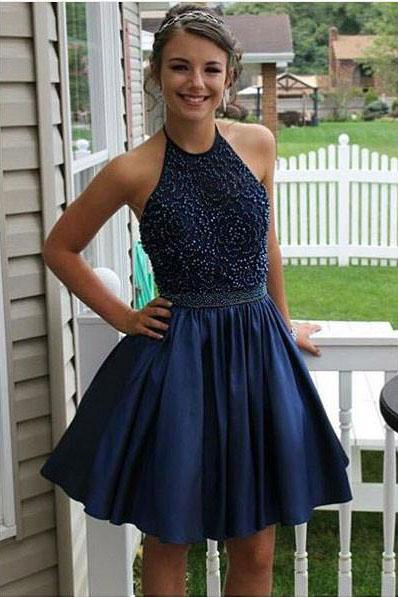Royal Blue Halter Short Homecoming Dresses with Applique Beaded Prom Bead Belt