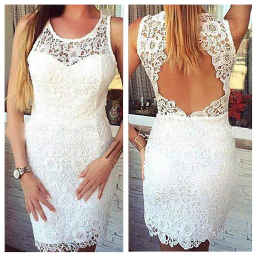 White Lace Backless Bodycon Short Homecoming Dresses