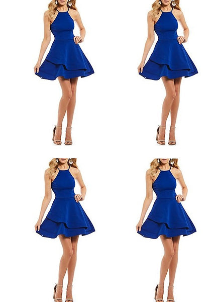 Blue Straps Short Stain Homecoming Dresses