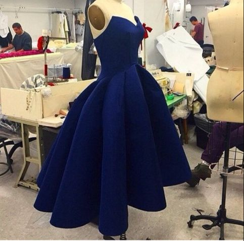 Navy Blue Strapless Homecoming Dresses,V-neck Pleats Prom Homecoming Dresses