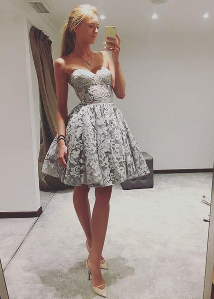 Grey Strapless Homecoming Dresses Above Knee Sweetheart Pleats