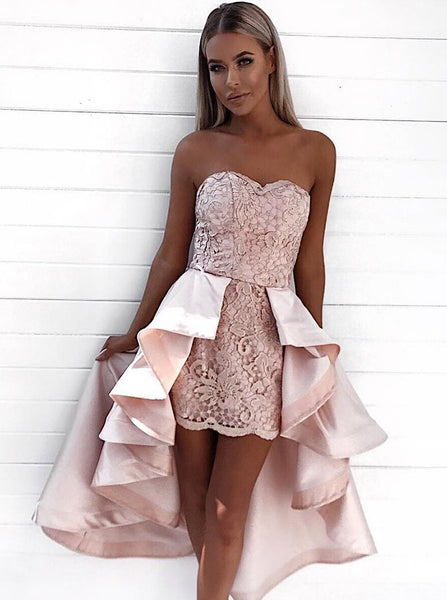 Pink Lace Strapless Bodycon Homecoming Dresses With Detachable Train