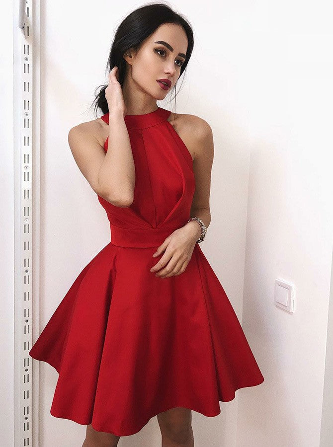 Red Round Neck Backless Homecoming Dresses Stain Pleated Short dress