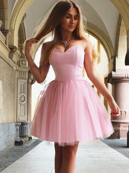 Pink Strapless Tulle Short Homecoming Dresses with Bandage