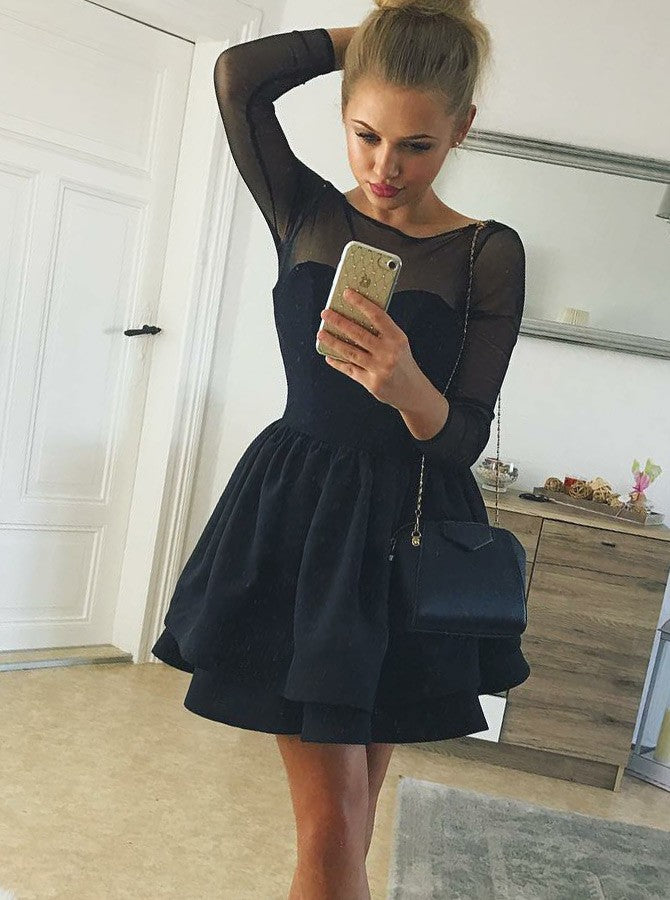 Black Long Sleeve Stain Homecoming Dresses With Tiered Short Pleated Dress