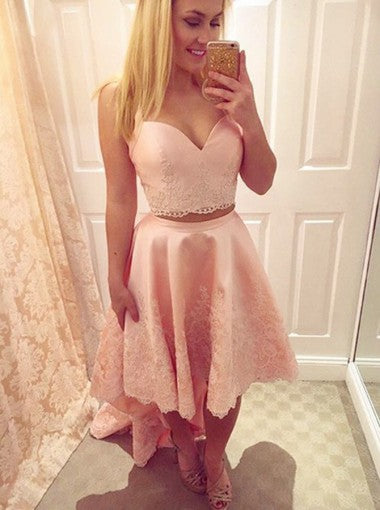 Pink Two Piece Homecoming Dresses,Straps Applique High Low Stain Homecoming Dresses