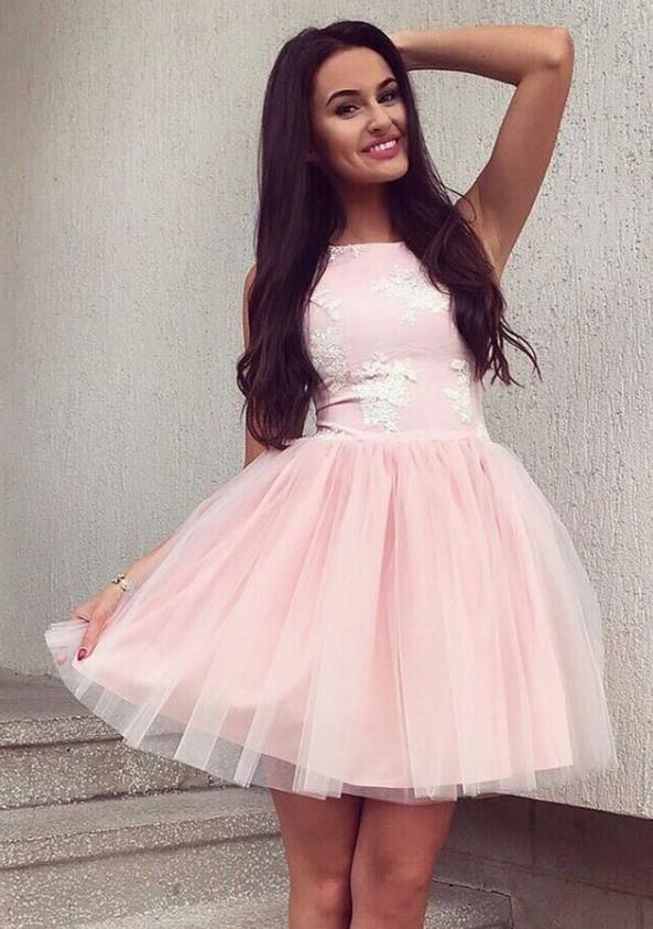 Pearl Pink Lace Tulle Homecoming Dresses with Applique