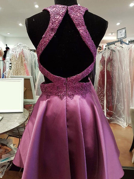 Purple Lace Round Neck Backless Homecoming Dresses With Beading