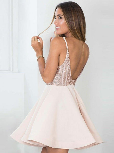 Pearl Pink Spaghetti Straps Homecoming Dresses,Sequin Short Homecoming Dresses
