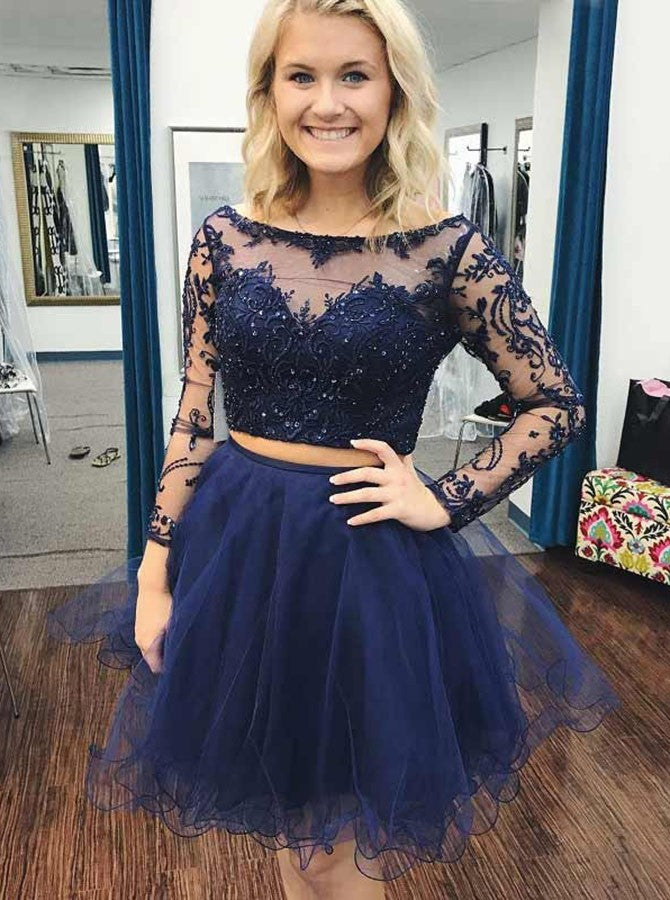 Blue Two Piece Long Sleeve Homecoming Dresses With Applique Beading Tulle