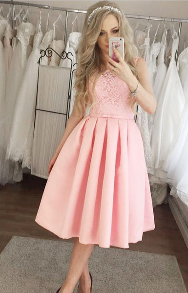 Pink Lace Applique Stain Homecoming Dresses Knee Length