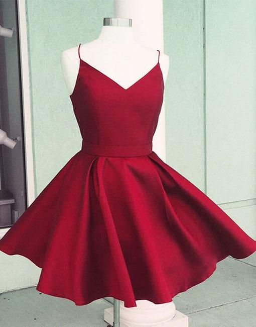 Red Spaghetti Straps V-neck Homecoming Dresses,Backless Stain Homecoming Dresses With Bowknot