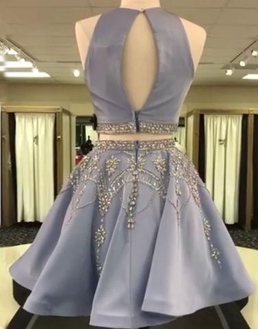 Blue Two Piece Backless Homecoming Dresses With Bead-Belt