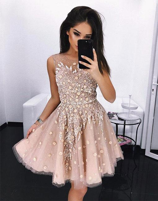 Champagne Round Neck Homecoming Dresses with Applique Tulle Beading