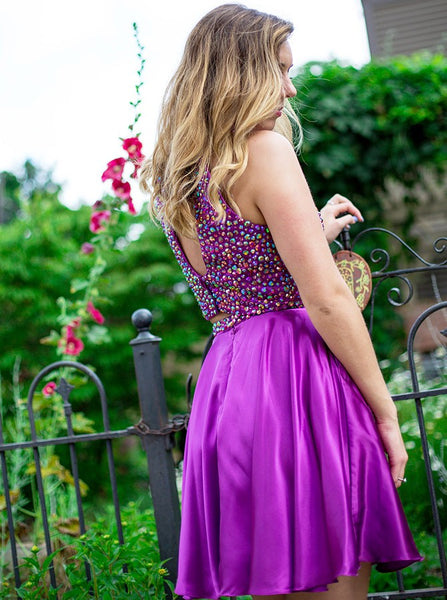 Purple Halter Two Piece Backless Short Homecoming Dresses with Beading