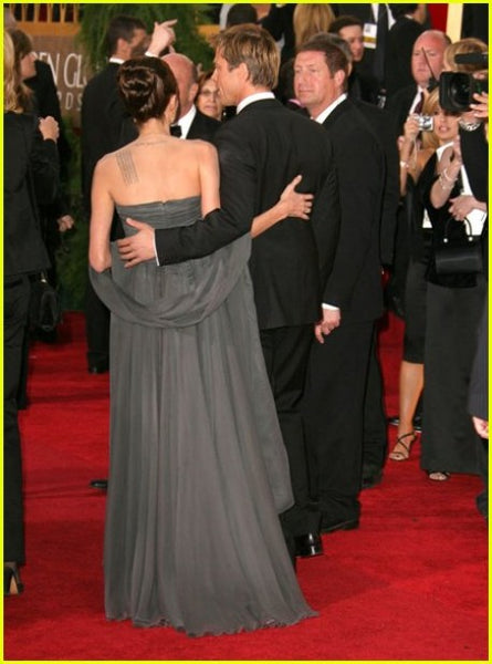 Angelina Jolie Grey Chiffon Dress Pleated Strapless Red Carpet Golden Globes Celebrity Formal Dress