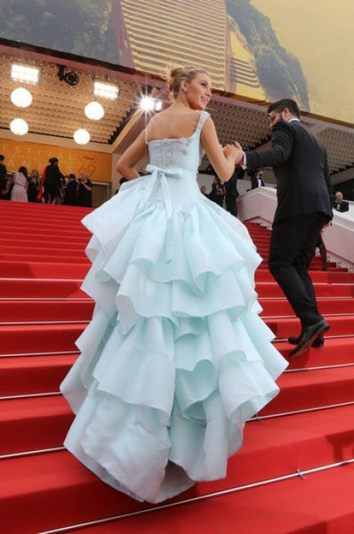 Blake Lively Tiered Dress Blue Sequins Round Neck Straps Prom Gown Celebrity Dress Cannes