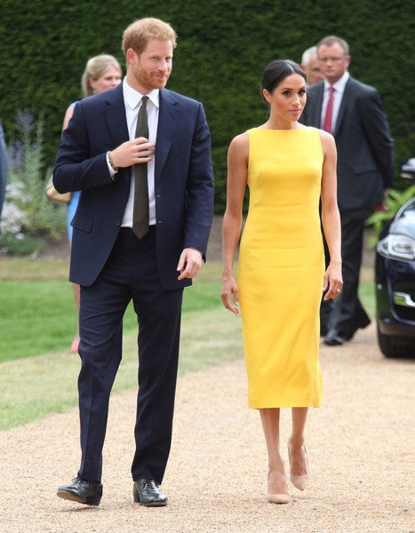 Meghan Markle Yellow Dress 'Your Commonwealth' Youth Challenge Reception Celebrity Formal Dress