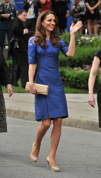 Kate Middleton Royal Blue Dress Round Neck Sheath Applique Knee Length Celebrity Dress Freedom of the City Ceremony