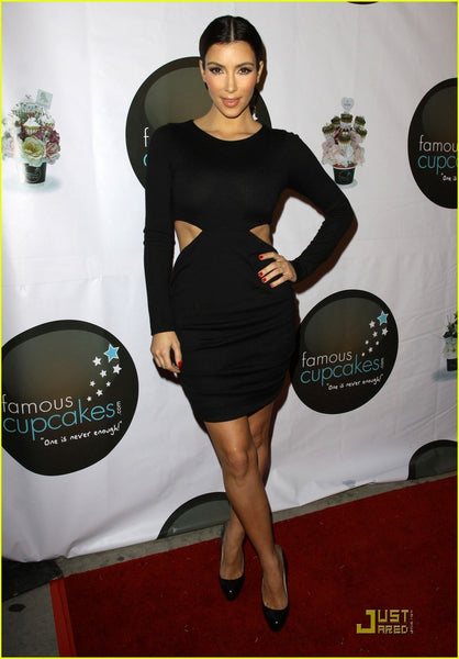 Kim Kardashian Black Dress Round Neck Wrap Prom Gown Celebrity Evening Dress Famous Cupcakes Red Carpet