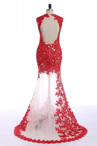 Sleeveless Red Applique Long Prom Dresses