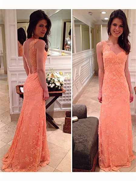 Sleeveless Applique Lace Long Prom Dresses