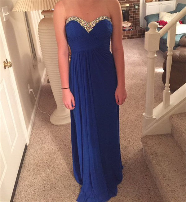Sweetheart Backless Royal Blue Prom Dresses