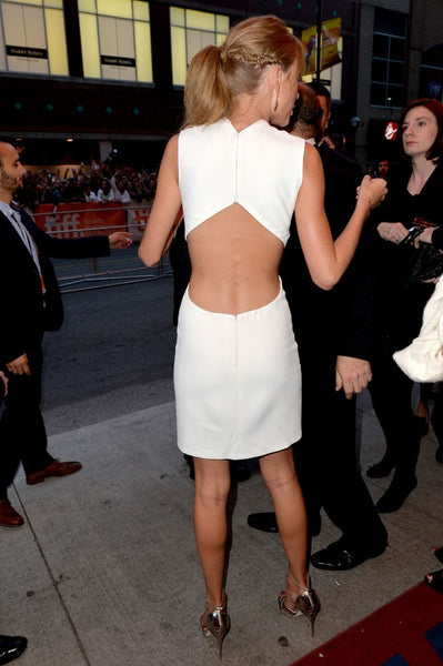 Taylor Swift White Dress Sleek Cut Out Pastel Prom Cocktail Gown Toronto Film Festival Celebrity Dress