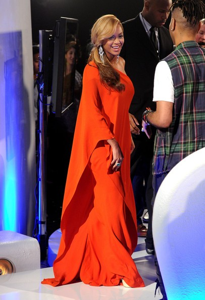 Beyonce Knowles One Shoulder Dress Orange Casual  MTV Video Music Awards Celebrity Evening Dress